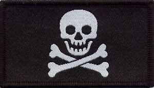 Jolly Roger Pirate Flag Skull and Crossbones Woven Badge Patch 8cm x 4.5cm