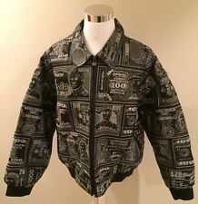 PELLE MODA American Genuine Leather Jacket World Currency Embroidery XXL Urban