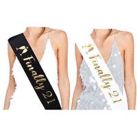 finally 21 satin sash shoulder strap drinking age birthday supply gift divine HH