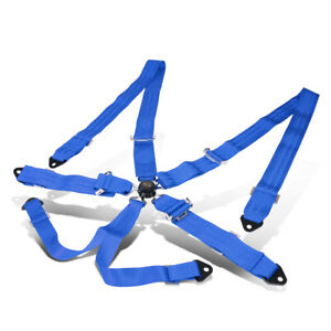 NRG INNOVATIONS SBH-6PCBL 6-POINT CAM LOCK BUCKLE RACING SEAT BELT HARNESS BLUE