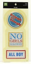 ALL BOY No Girls Allowed Self-Adhesive Metal Signage STICKERS - 3 Signs