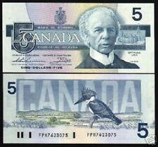 CANADA 5 DOLLARS P95 B 1986 KINGFISHER BIRD PARLIAMENT UNC MONEY BILL BANK NOTE