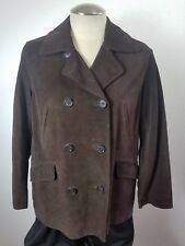 J CREW Brown Suede Leather Double Breasted Pea COAT Barn Car Petite Med PM Woman