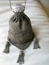 Antique Victorian Art Nouveau G Silver Tassel Floral Mesh Gate Top Compact Purse