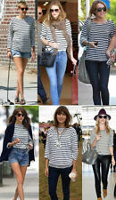 Viscose Long Sleeve Striped Basic T-Shirts for Women