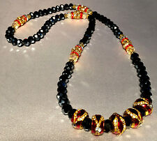 EUROPEAN FABERGE EGG BEADS STRUNG WITH BLACK SWAROVSKI CRYSTALS FREE BRACELET