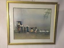 "Lithograph Amish Family Signed ""Steve polomchak""C12pix4closeups/size & MAKE OFER"