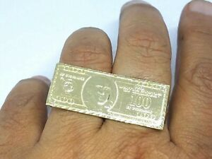 GOLD mens Ring knuckle bar multi 2 finger 10k $100 dollar money hip 10 11 7 8 9