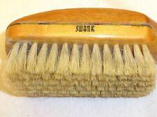 SWANK Shoe Brush Clothes 2-Tone Wood Genuine Bristle W Germany Vintage W/ Handle