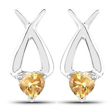 1.40 ct Genuine Citrine Heart Shape Ear Stud Pairs 925 Sterling Silver Earrings