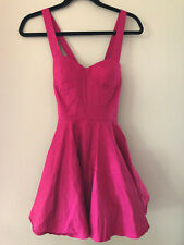 Pink Fuchsia Padded Bustier Tulle Petticoat Poofy Skater Fit & Flare Dress M