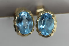 BLUE TOPAZ EARRINGS 9CT GOLD