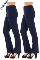 Ladies Finely Ribbed Bootleg STRETCH Trousers (2 PAIRS IN NAVY) Size 10 to 24
