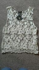 Womens cream lace effect top size small
