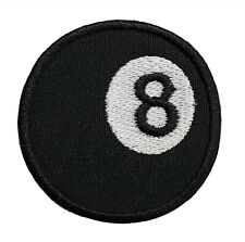 """Eight Ball Embroidered Iron On Patch 2.1"""" Pool Billiards Magic 8 Ball Bad Luck"""