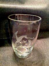 """Kosta Boda Etched Deer/Impala 4-3/4"""" Crystal Glass Vase"""