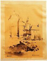 Dibujo Original Aguada Piedras Beauvais Firma Principios Xx 24x18cm