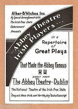 Barry Fitzgerald ABBEY THEATRE IRISH PLAYERS F. J. McCormick 1933 Chicago Flyer