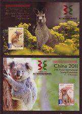 AUSTRALIA 2011 CHINA PAIR OF MINIATURE SHEETS FINE USED, KOALA, KANGAROO