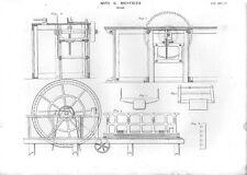 Stampa antica MACCHINE LAVORAZIONE LEGNO seghe meccaniche 1848 Old print