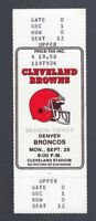 VINTAGE 1987 NFL DENVER BRONCOS @ CLEVELAND BROWNS FULL UNUSED FOOTBALL TICKET