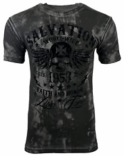 Archaic Affliction Men's T-Shirt Black Tide Skull Black Tattoo Biker Mma