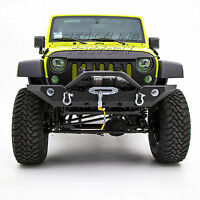 Front Bumper with OE Fog Light Hole+Winch mount plate for 07-18 Jeep JK Wrangler