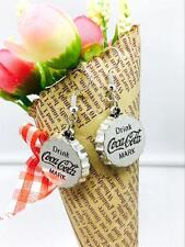 Hidden charm pendant earrings. Silver Cola logo accessories 21mm