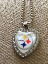 PITTSBURGH STEELERS  Heart Shaped Beaded Pendant Necklace With 50cm Chain NFL