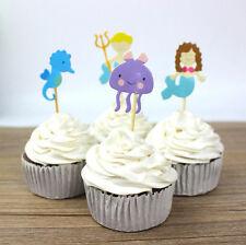 24pcs Sea World Mermaid Cupcake Toppers Picks Birthday Kid Boys Party Decor Gift
