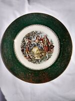 VINTAGE Imperial SALEM CHINA CO IMPERIAL COLONIAL GREEN 23K GOLD PLATE CHARGER