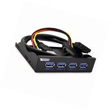 Tendak USB 3.0 4 puertos 3.5 pulgadas concentrador USB del panel frontal de metal con alimentación de 15 Pines Sata