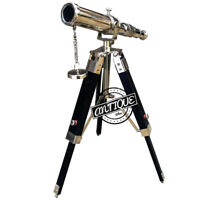 Marine Telescope Antique Brass with Black Wooden Tripod Stand Nautical Decor 9""