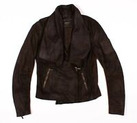 Laundry Shelli Segal Brown Genuine Leather Drape Moto Jacket Size S Small