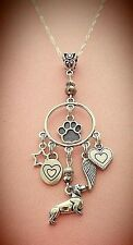 Love My Dachshund Dangle Silver Tone Charm Necklace FREE SHIPPING!
