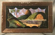 Art Deco Era Folk Art Reverse Painting on Glass Rio De Janeiro Butterfly Wings,