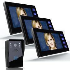 """7"""" Wired Video Door phone Intercom Doorbell Home Security Camera with 3 Monitors"""