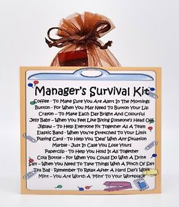 Manager's Survival Kit - Fun Novelty Gift & Card Alternative / Keepsake
