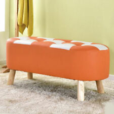 Unbranded Leather Orange Benches and Stools
