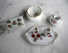 Vintage Miniature Porcelain Doll House Pitcher, Sugar & Creamer & Tray and Table