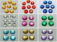 50 Acrylic Flatback Rhinestone Round Gem Beads NO HOLE 20mm Pick Your Color