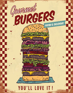 FRESH DELICIOUS BURGERS AMERICAN DINER LARGE METAL TIN SIGN POSTER FOOD KITCHEN