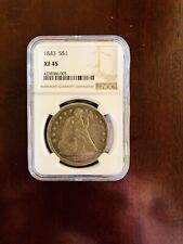 1843 seated liberty $1 dollar Xf45