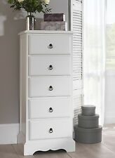 Romance 5 Drawer Tallboy Antique White Narrow Chest of Drawers Fully Assembled