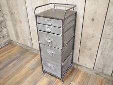 Industrial Metal 5 Chest Drawer Storage Cabinet Organiser Unit Bathroom Cupboard