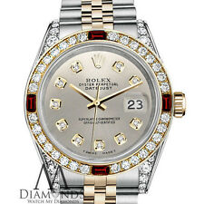 26mm Rolex Stainless Steel & 18k Silver Color Datejust Ruby Diamond Watch
