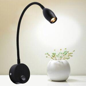 LED Schwanenhals Bettleuchte Wandlampe Leselampe mit Schaler Nachttisch Spot
