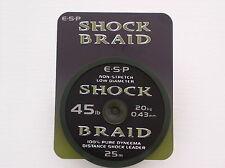 ESP Schlagschnur geflochten, Shock Braid, Leader, 45lbs - extrem Abrieb-fest
