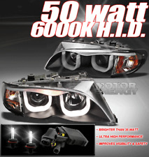 02-05 BMW E46 3-SERIES 4DR 3D DRL LED BLACK PROJECTOR HEADLIGHTS W/50W 6000K HID