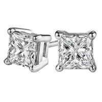 Sparkling Princess White Sapphire Stud Earrings - Satisfaction Guarantee!